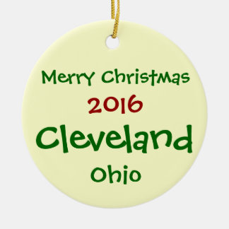 NEW 2016 CLEVELAND OHIO MERRY CHRISTMAS ORNAMENT