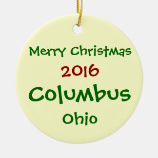 NEW 2016 COLUMBUS OHIO MERRY CHRISTMAS ORNAMENT