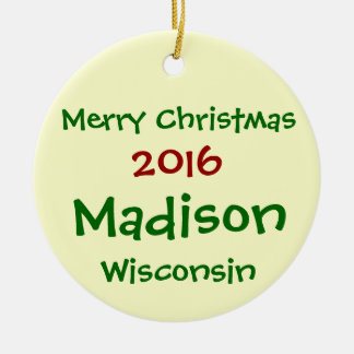 NEW 2016 MADISON WISCONSIN CHRISTMAS ORNAMENT