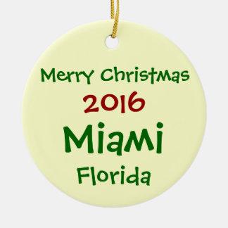 NEW 2016 MIAMI FLORIDA MERRY CHRISTMAS ORNAMENT