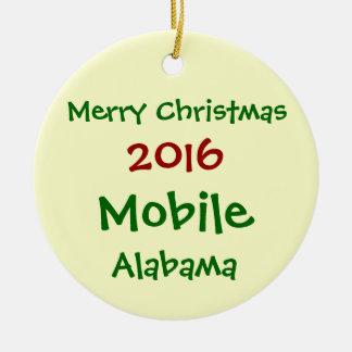 NEW 2016 MOBILE ALABAMA MERRY CHRISTMAS ORNAMENT