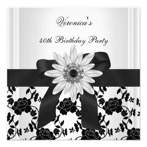 NEW 40th Birthday Party Black White Flower Diamond Custom Invitation