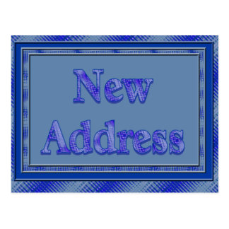 New address blue plaid postcard