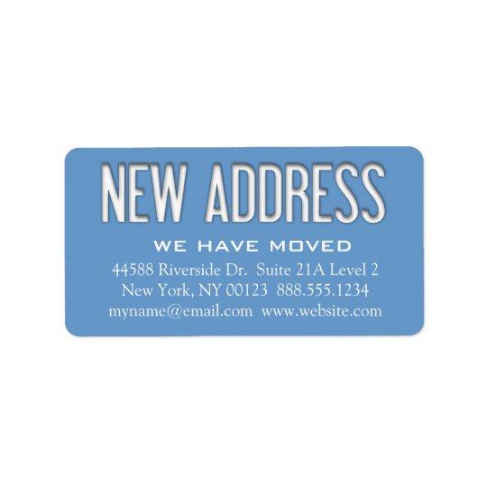 """New Address"" Change Notification Label"