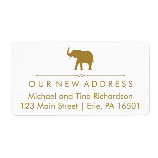 New Address Glam White and Gold Elephant