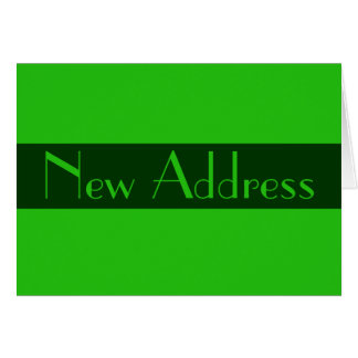 New Address Green color Note Card