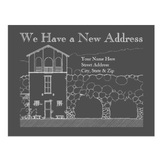 New Address Grey and White Chalkboard Drawing Postcard