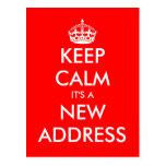 New address keep calm moving postcards