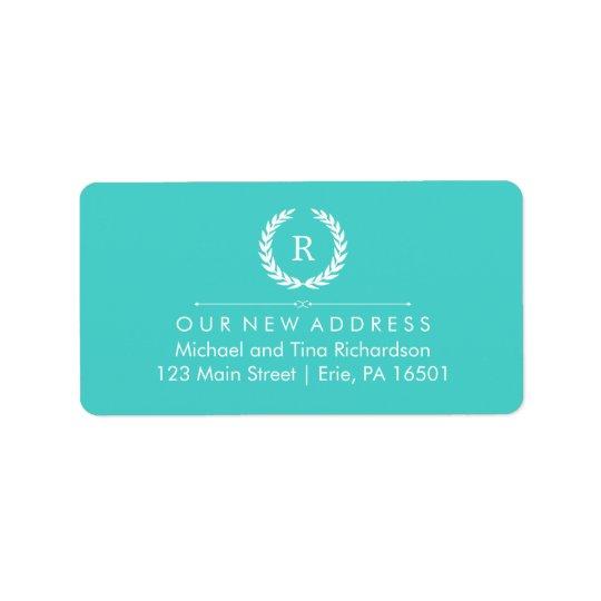 New Address on Turquoise and White Monogram Wreath