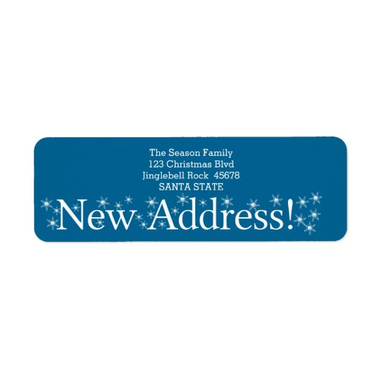 New Address Snowflake Christmas Return Address Label