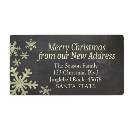New Address snowflake holiday Label
