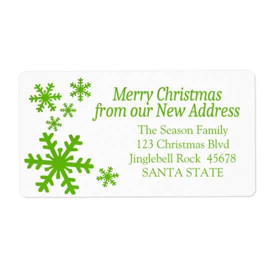 New Address snowflake holiday Label Shipping Label