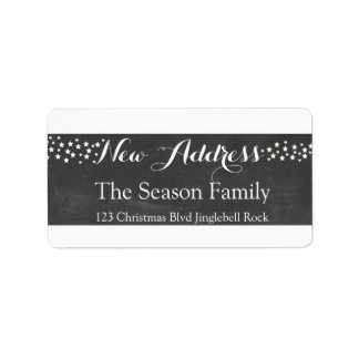 New Address  stars holiday label