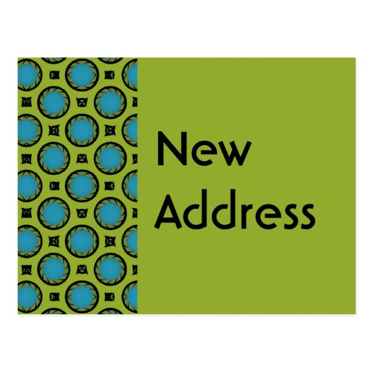 New Address Turquoise Green Postcard