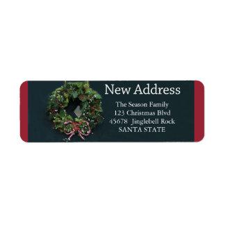 New Address x-mas wreath Holiday Label