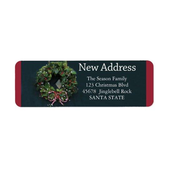 New Address x-mas wreath Holiday Label Return Address Label