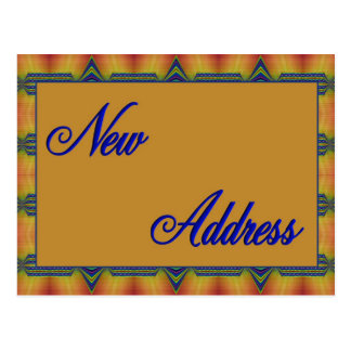 new address yellow and blue postcard