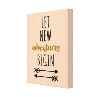 New Adventures Motivational Quote Canvas Print