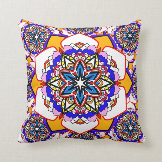 New age abstract flowers colourful cushion