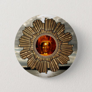 New Age Buddha Sun Brooch 2 Inch Round Button