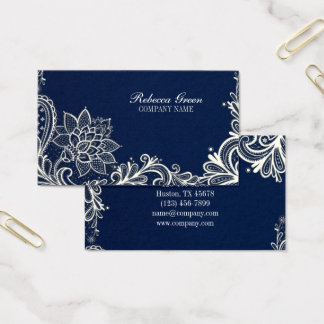 New Age Yoga navy blue henna bohemian lace Business Card