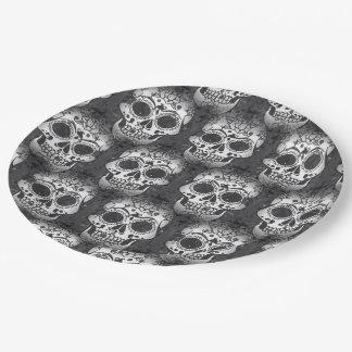 New allover skull pattern paper plate