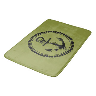 NEW-ANCHOR & ROPE-NAUTICAL_OLIVE-OIL-GREEN-RUGS BATH MAT