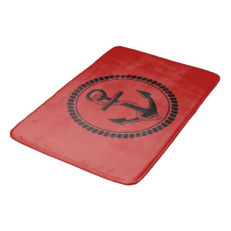 NEW-ANCHOR & ROPE-NAUTICAL_RED-LOVER'S-RED--RUGS BATH MAT