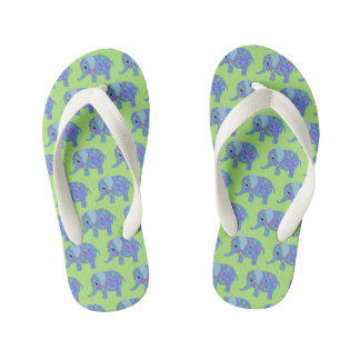 New and Improved Floral Elephant Flip Flops