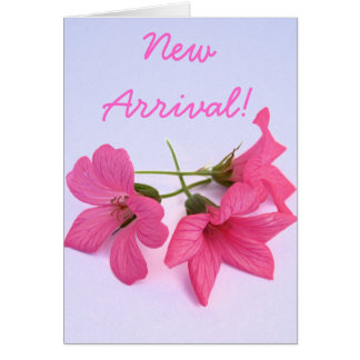 New arrival baby girl pink floral greeting card