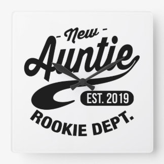 New Auntie 2019 Square Wall Clock