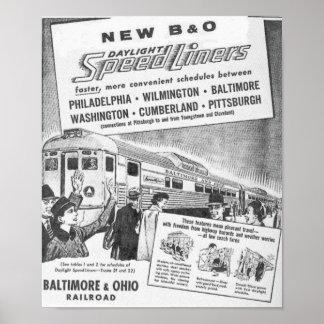 New B&O Budd Built Daylight Speedliners  Posters