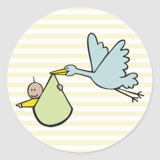 New Baby and Flying Stork Classic Round Sticker