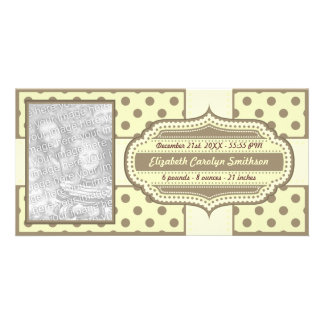 New Baby Birth Announcement Yellow Brown Photo Greeting Card