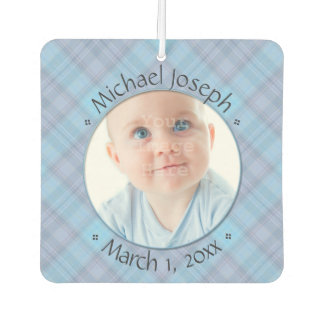 New Baby Blue Plaid Personalized Dated Air Freshener