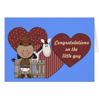 New Baby Boy and Pony Hearts - Western Card