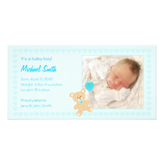New Baby Boy Announcement Photo Card Template