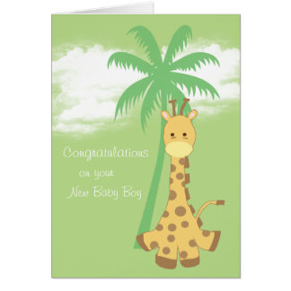 New baby boy congratulations blue giraffe card