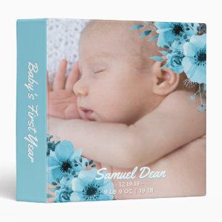 New Baby Boy First Year Photo Elegant Blue Floral 3 Ring Binder