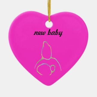 New baby ceramic heart ornament
