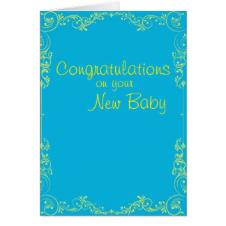 New baby congratulations bright blue and yellow card