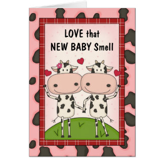 New Baby - Cows for New Parents Greeting Card