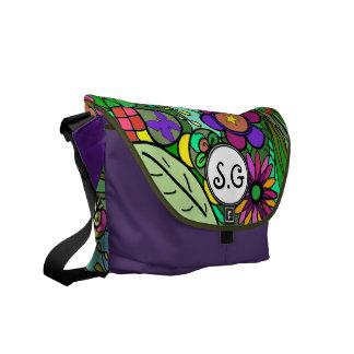 new baby custom monogram bag bright bold garden commuter bag