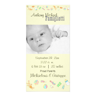 New Baby Customizable Yellow Photo Card