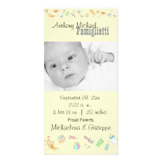 New Baby Customizable Yellow Photo Card