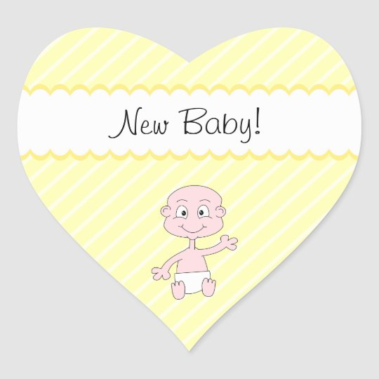 New Baby! Cute baby waving. On Yellow stripes. Heart Sticker