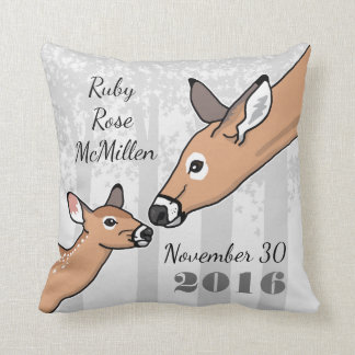 New Baby Cute Deer and Fawn Personalized Throw Pillow