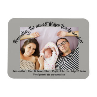 New Baby Family Photo Announcements Magnet