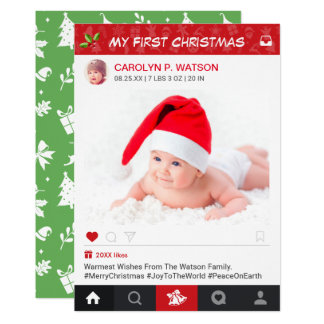 New Baby First Christmas Instagram Frame Photo Card