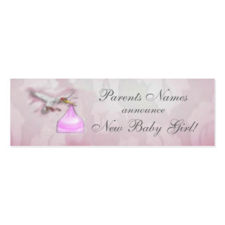 New Baby Girl Announcement Pack Of Skinny Business Cards